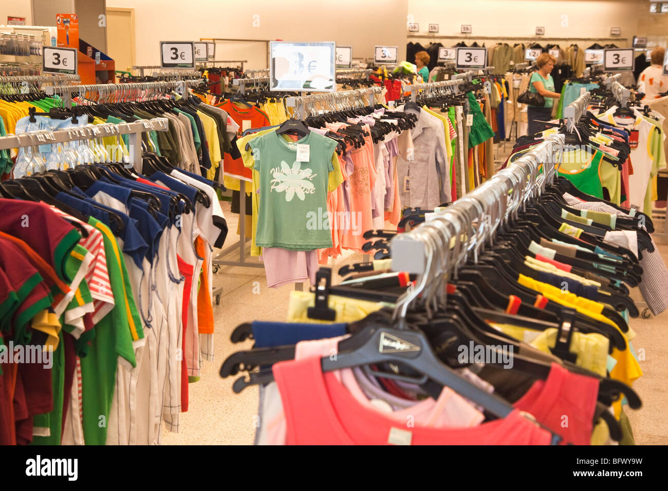 Bargain clothing for sale in SuperCor outlet of El Corte Ingles, Torremolinos, Costa del Sol, Malaga Province, Spain - Stock Image