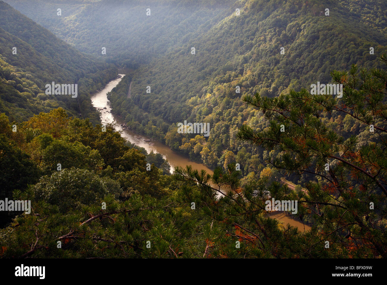 Landscape West Virginia New River overlook no not people nobody isolated from above top view overhead overview - Stock Image