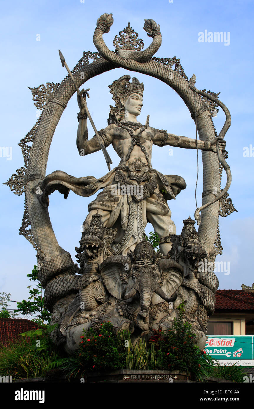 Arjuna Statue, at Ubud, Bali. Also known as the Indra Statue. Arjuna is a central figure in Hindu Religion. - Stock Image