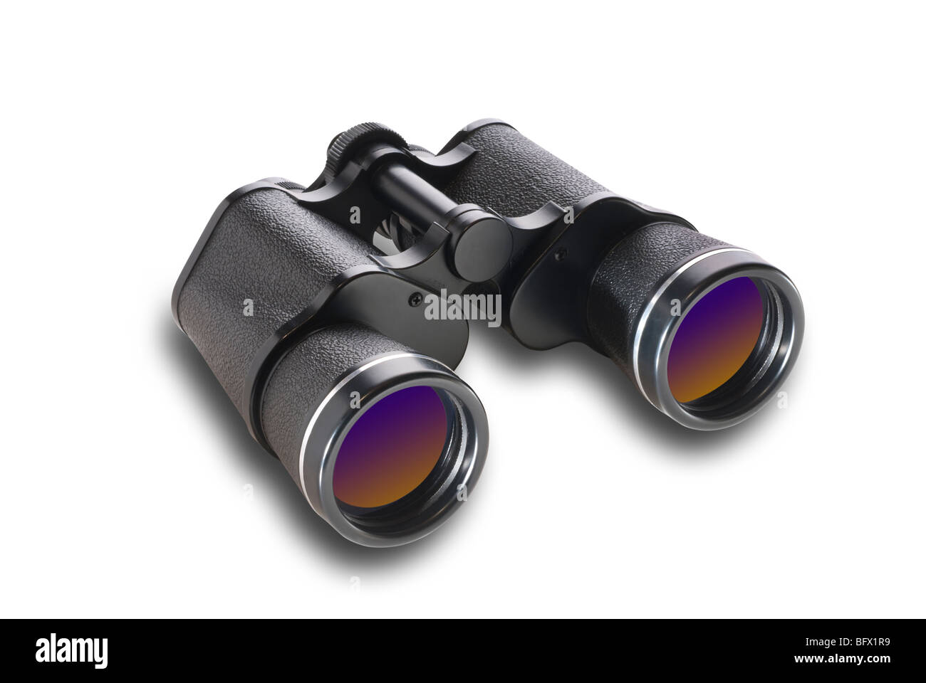 Binoculars at angle,isolated - Stock Image