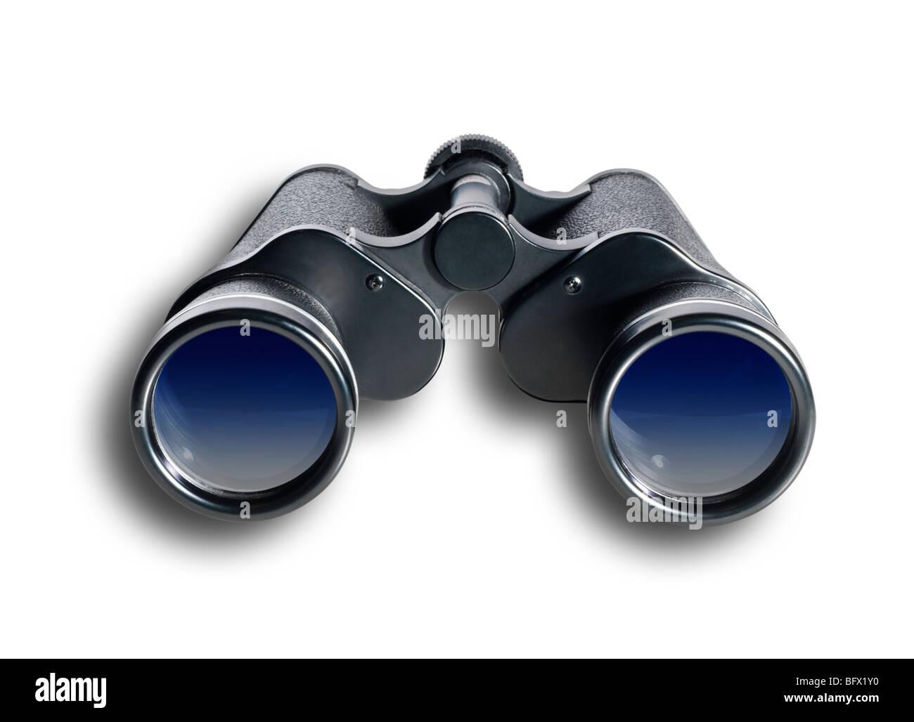binoculars straight on,isolated - Stock Image