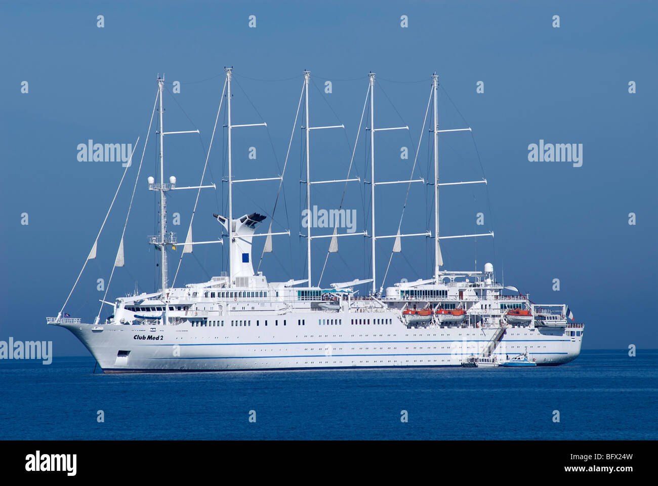 Club Med 2 ship anchored - Stock Image