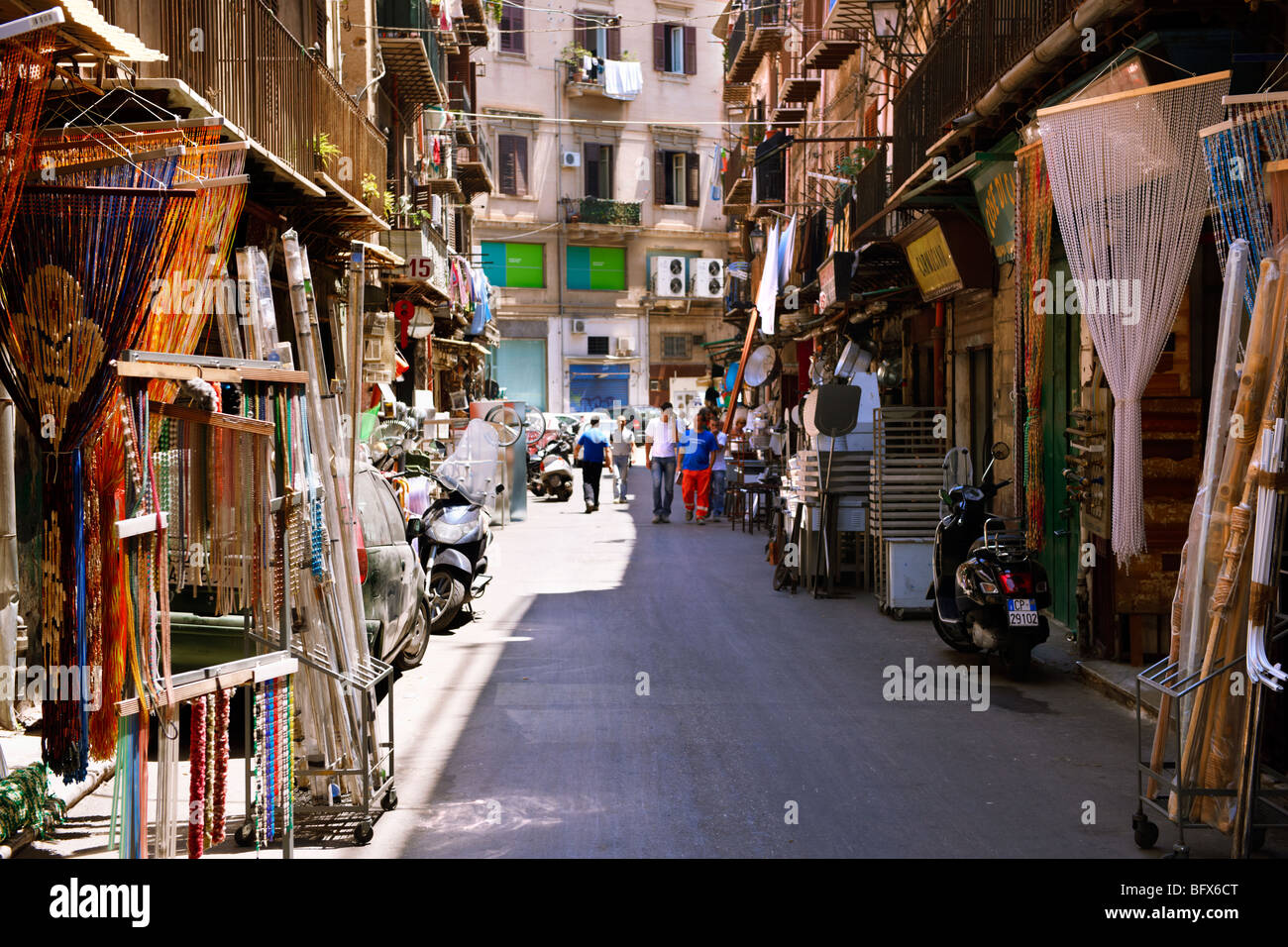 Via Calderai, street shops, Sicily - Stock Image