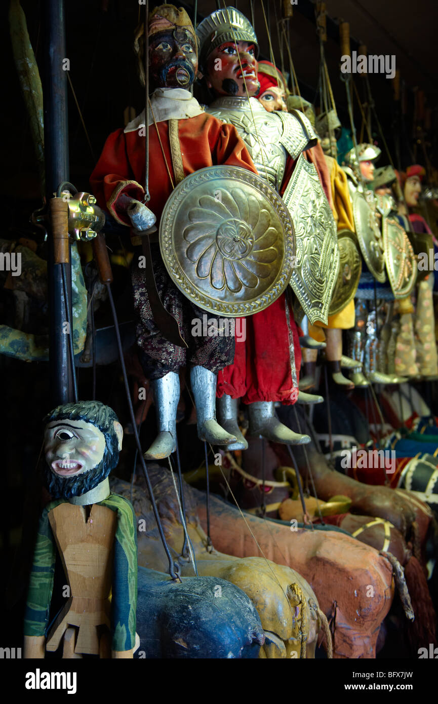 puppet theatre museum, traditional Sicilian puppets, Palermo, Sicily - Stock Image