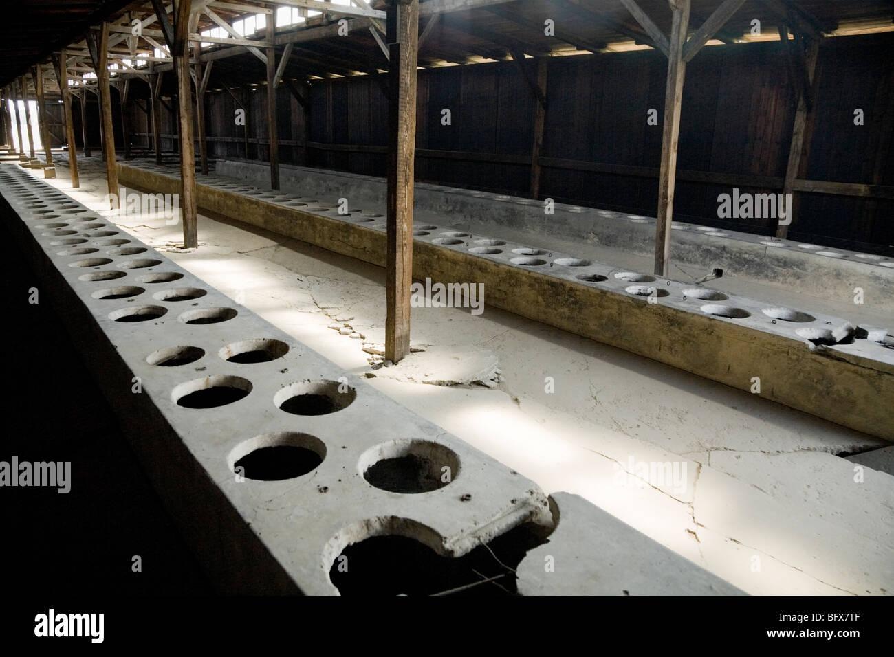 Toilets inside a latrine hut / shed of the Birkenau (Auschwitz II - Birkenau) Nazi death camp in Oswiecim, Poland. - Stock Image
