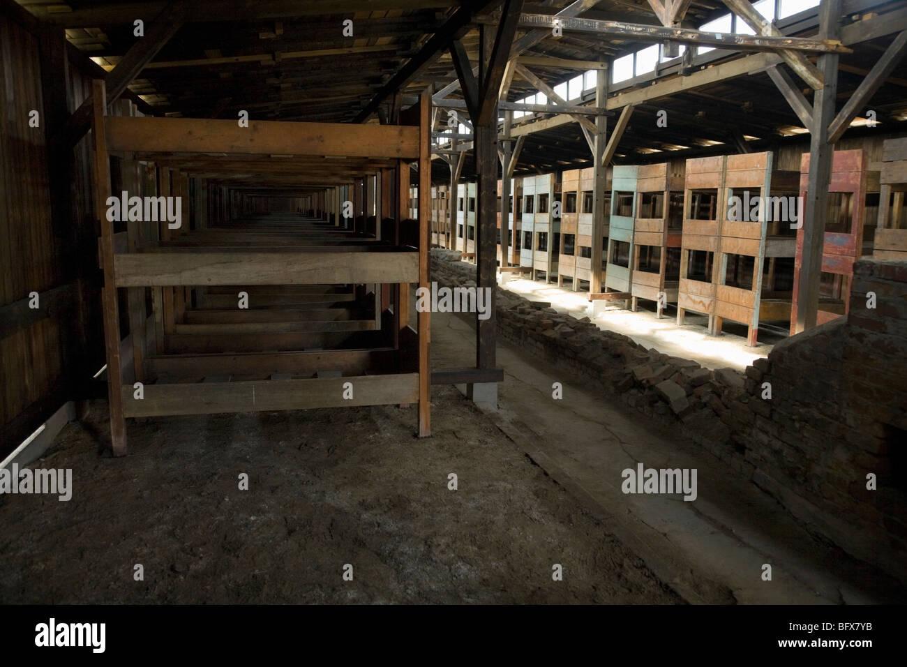 Inside a hut / shed – with bunks for prisoners – of the Birkenau (Auschwitz II - Birkenau) Nazi death camp in Oswiecim, - Stock Image