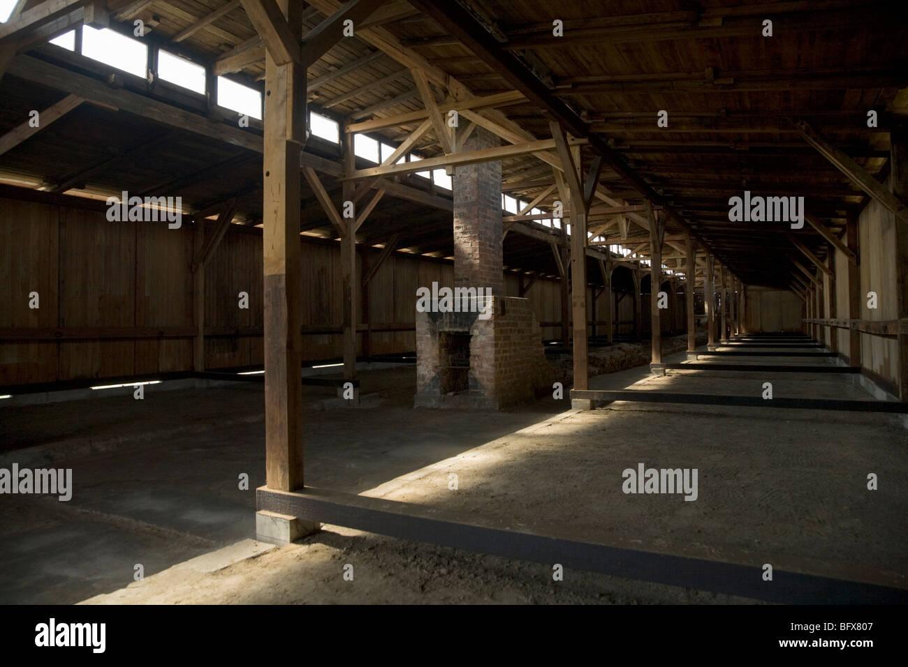 Inside a hut / shed of the Birkenau (Auschwitz II - Birkenau) Nazi death camp in Oswiecim, Poland. - Stock Image
