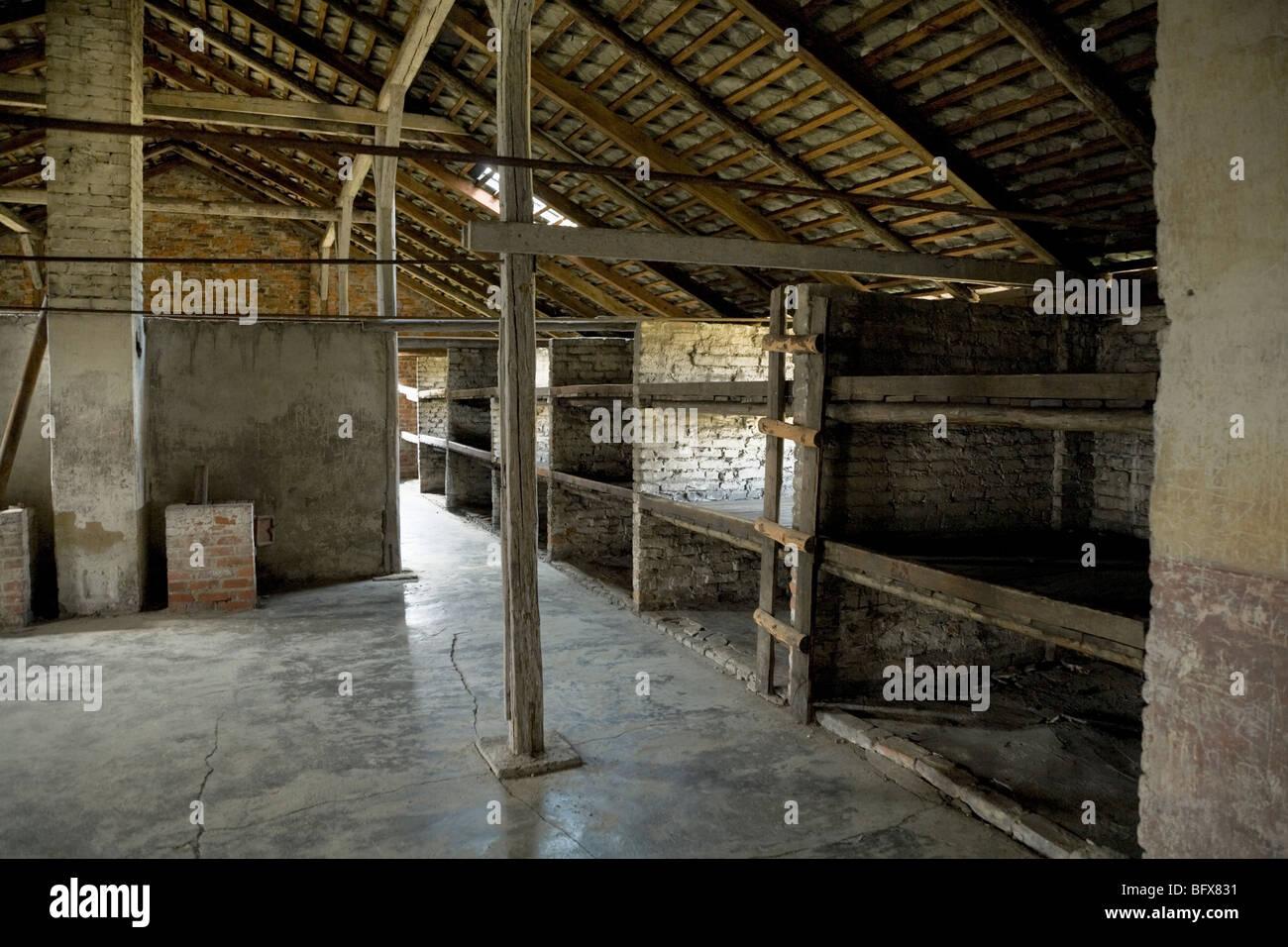 Bunks for prisoners inside a hut (number 3)/ shed of the Birkenau (Auschwitz II - Birkenau) Nazi death camp in Oswiecim, - Stock Image