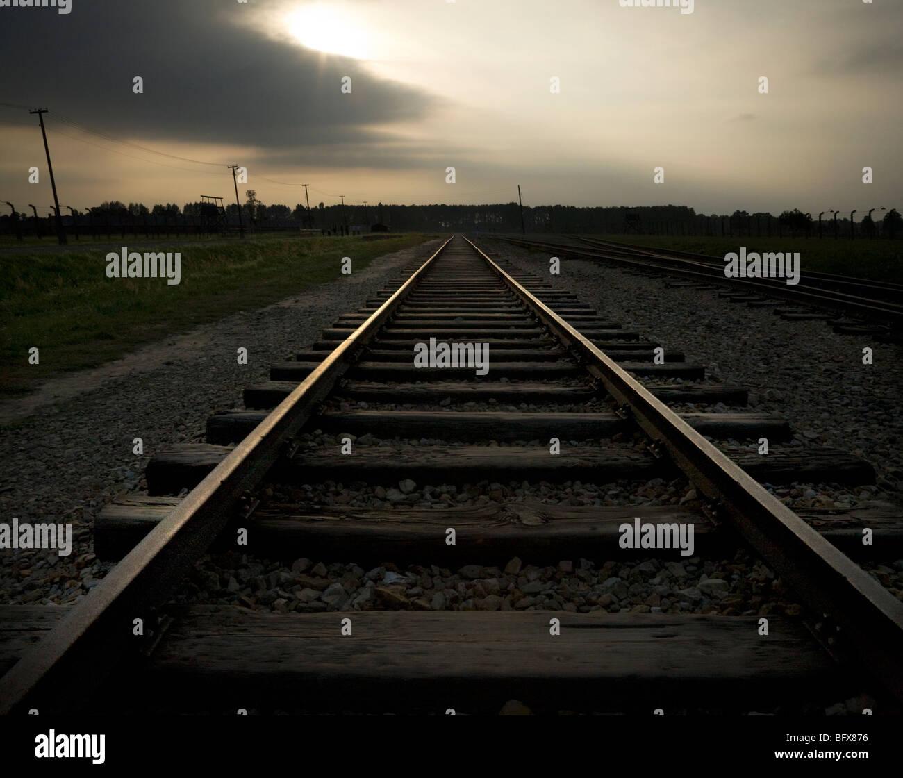 Rail way lines inside Birkenau (Auschwitz II - Birkenau) Nazi death camp in Oswiecim, Poland. - Stock Image