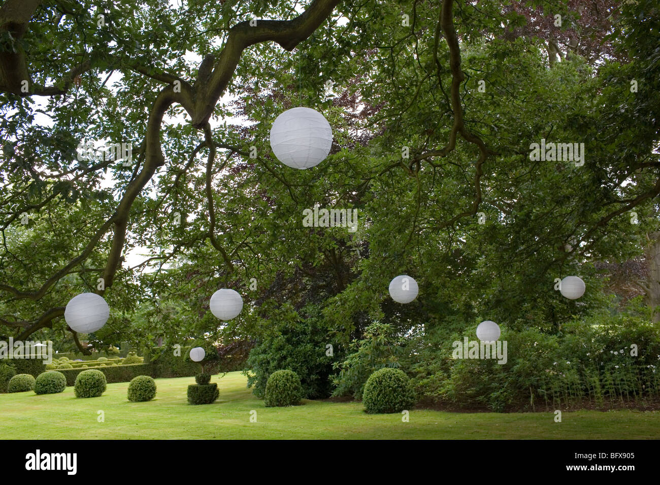 Lanterns hang from trees in an English garden. - Stock Image