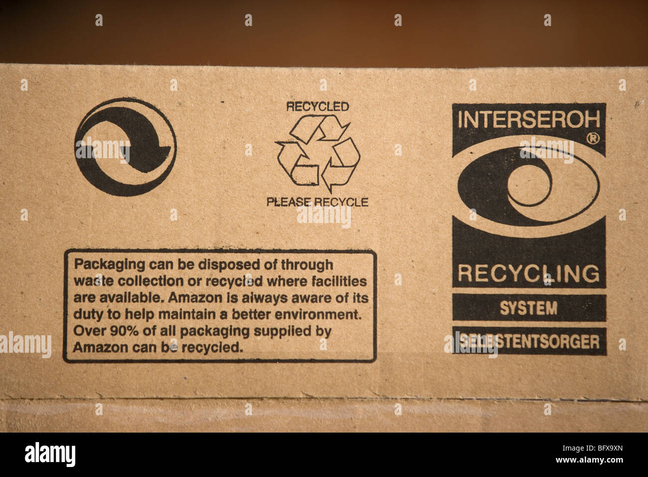 Recycling Logos On A Cardboard Box - Stock Image