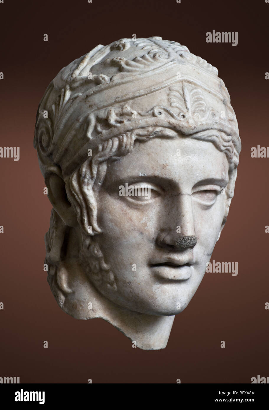 Head of Ares by Alkamenes, from the temple of Ares in Athens. See description for more information. - Stock Image