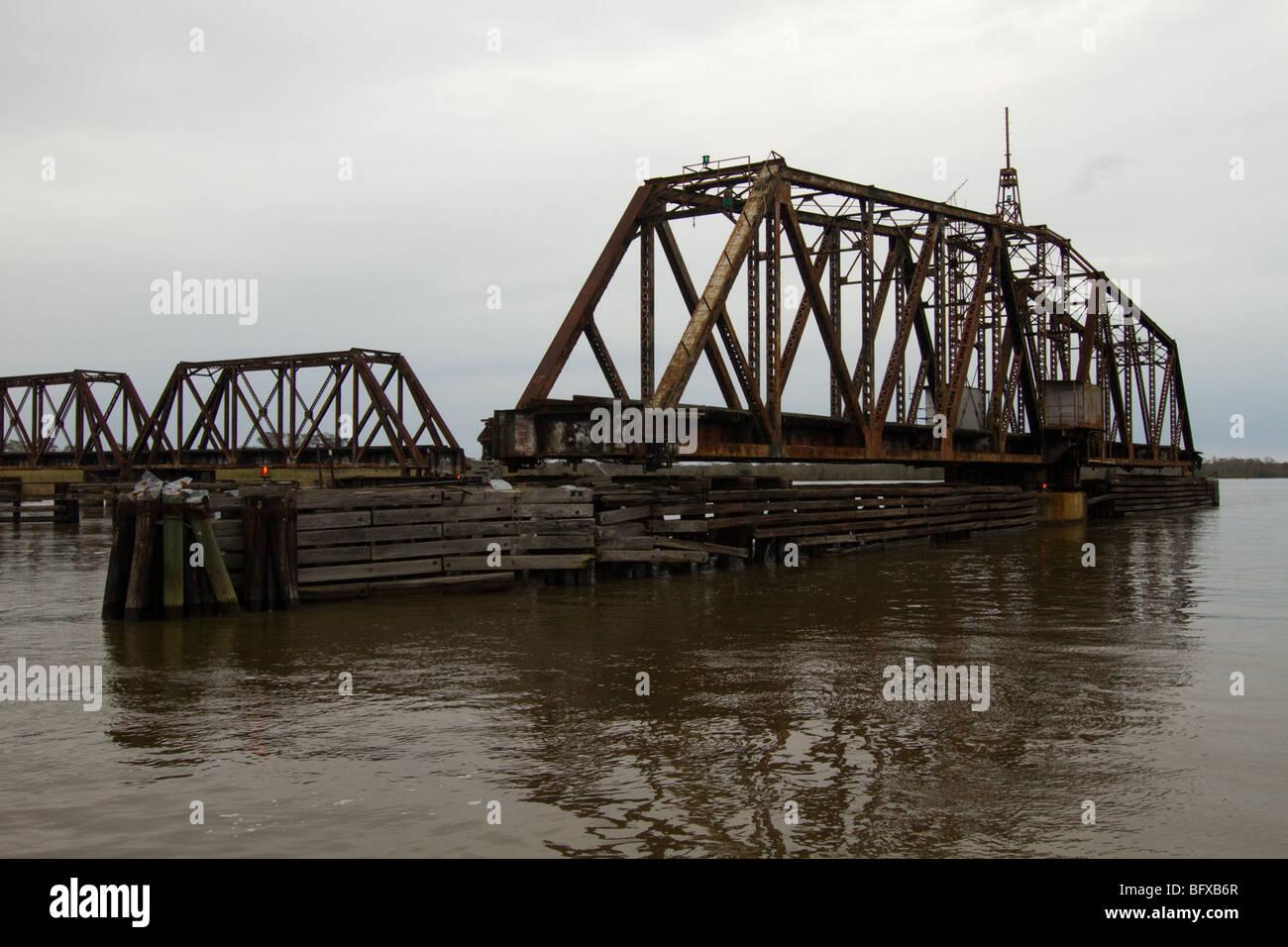 Apalachicola Railroad swing bridge - Stock Image