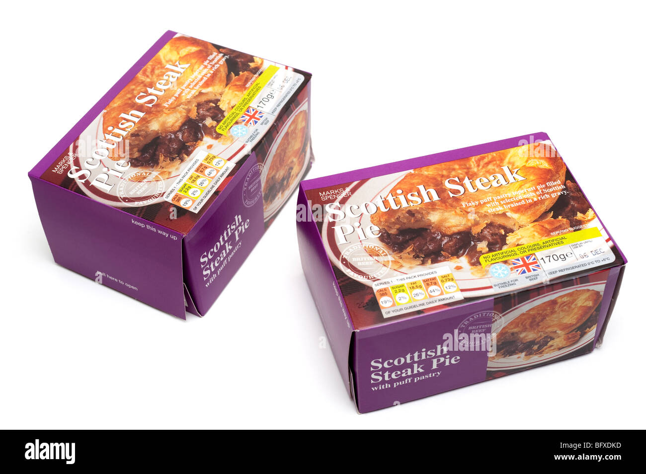 """Two 170 gram """"Marks and Spencer"""" boxed Traditional """"Scottish Steak"""" Beef Pies Stock Photo"""