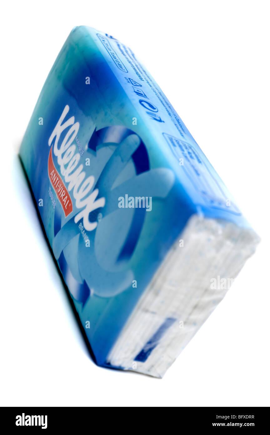 Cellophane pack of anti Viral Kleenex tissues - Stock Image