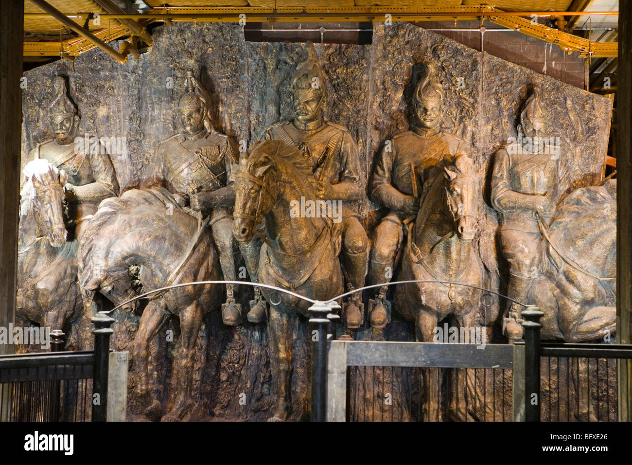 Metal bronze horses sculpture, Camden Stables Market, London - Stock Image