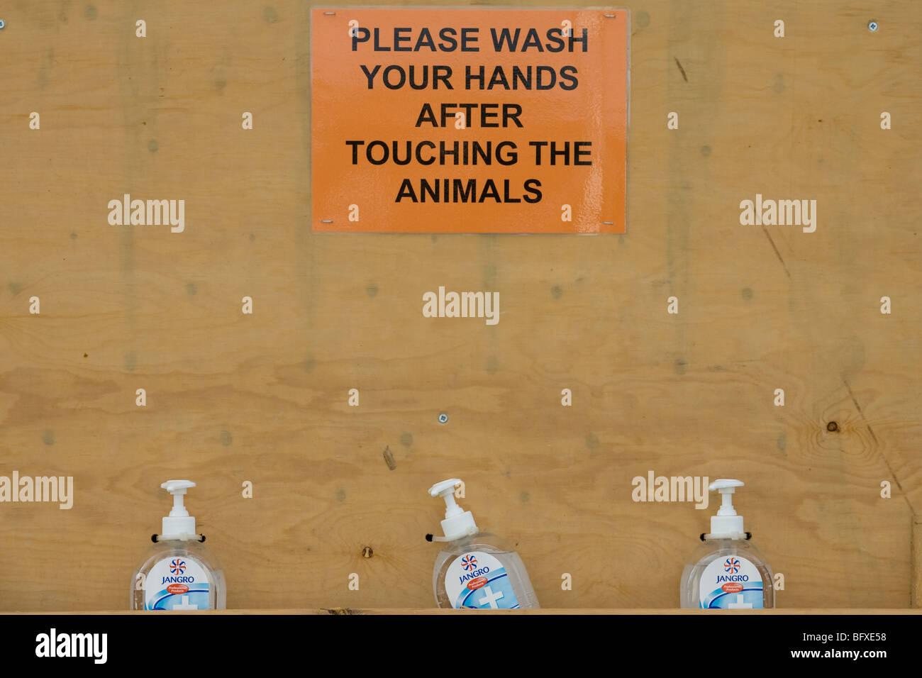 Hand Wash At A Petting Farm - Stock Image