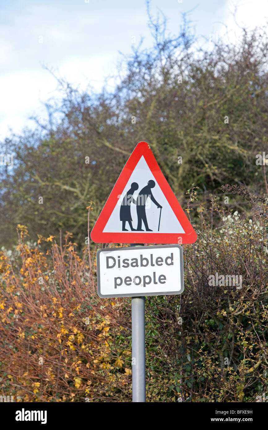 Disabled people road sign - Stock Image