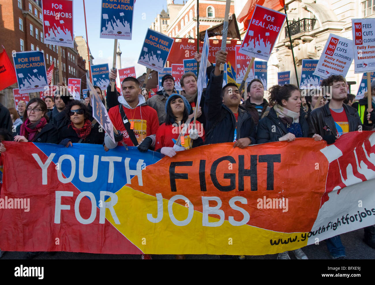 Unemployment all time high, students march in London to fight for jobs, youth training schemes and free tuition - Stock Image