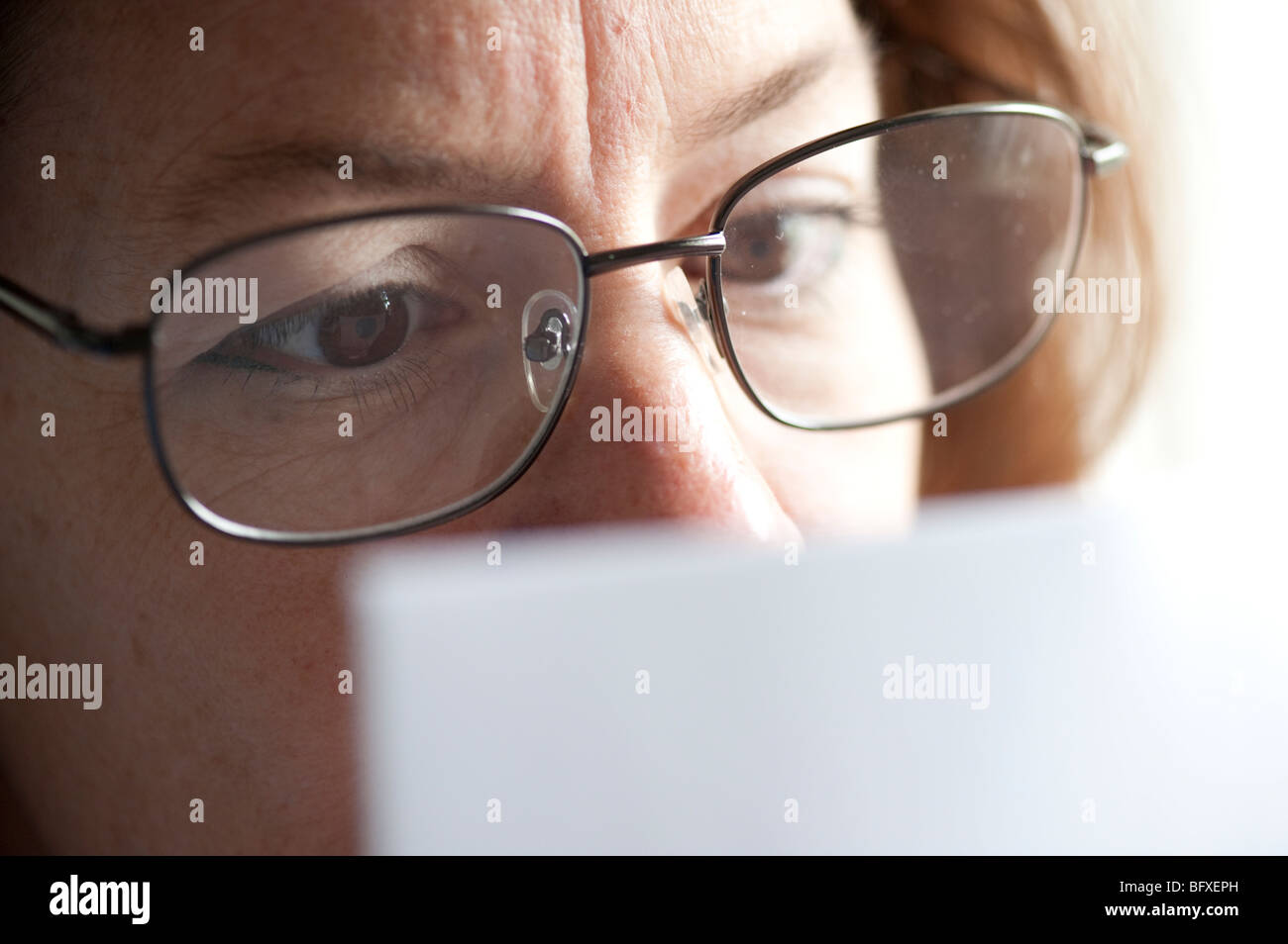woman executive examining business document - Stock Image