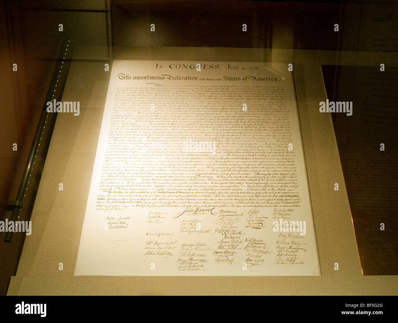 Original of the Declaration of Independence document, The National Archives, Washington DC, USA - Stock Image