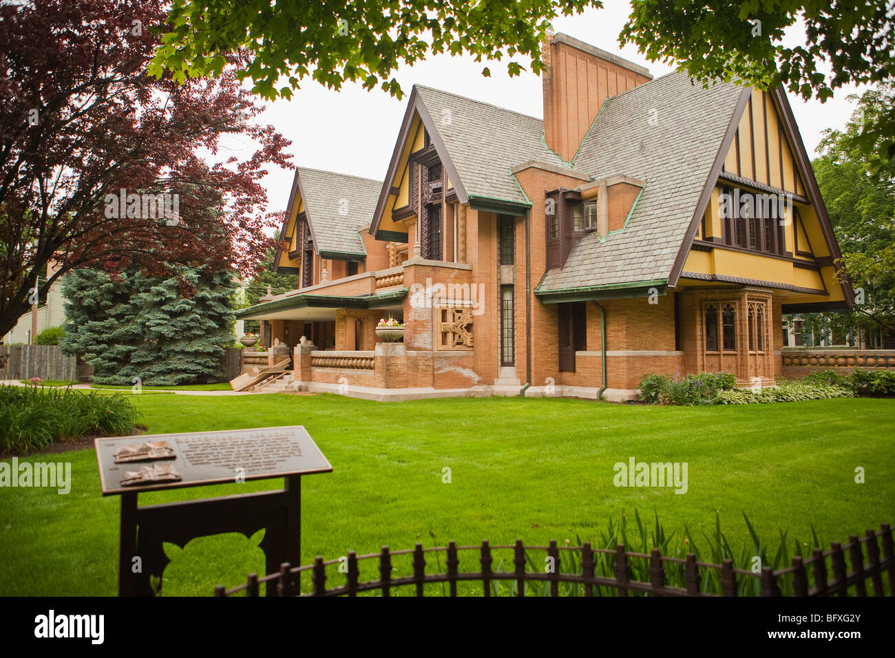 Nathan G. Moore House by architect Frank Lloyd Wright, Frank Lloyd Wright Historic District, Oak Park, Illinois - Stock Image