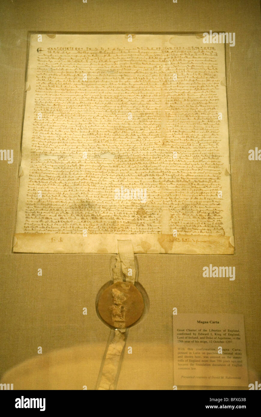 Original copy of the Magna Carta document on loan to the National Archives, Washington DC USA. See CNPX83 for improved - Stock Image