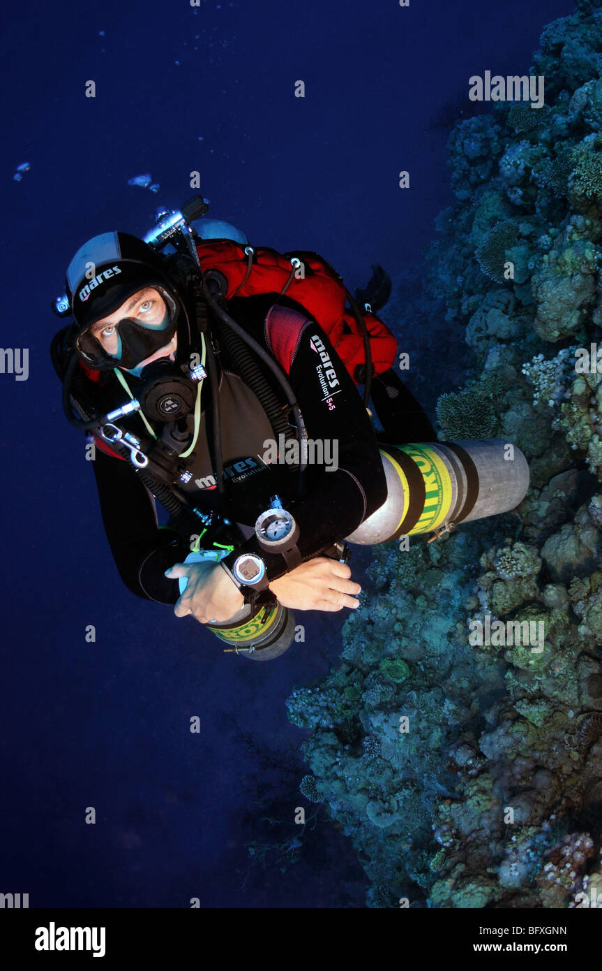 Technical scuba diver diving underwater with multiple cylinders on coral reef wall Ras Abu Gallum, 'Red Sea' - Stock Image