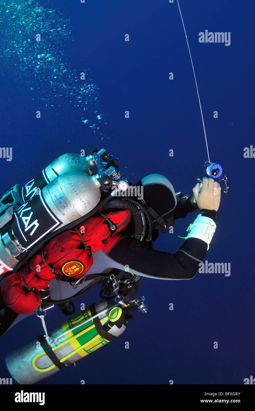 Technical scuba diver reeling up line to delayed surface marker buoy Ras Abu Gallum, 'Red Sea' - Stock Image