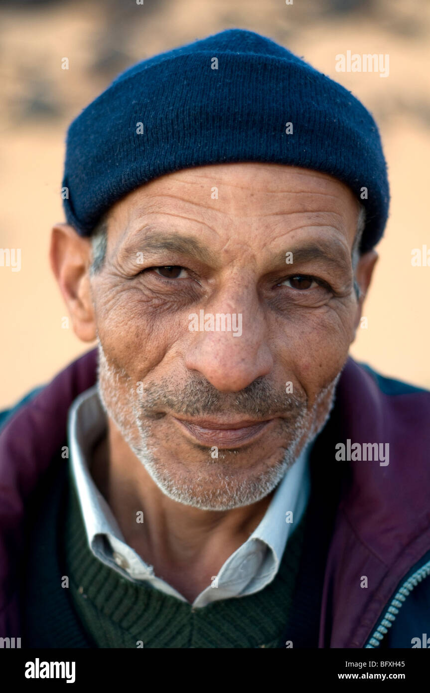 A closeup facial portrait of an older Middle Eastern, Egyptian Arab man, living in Dakhla Oasis, in the New Valley, Stock Photo
