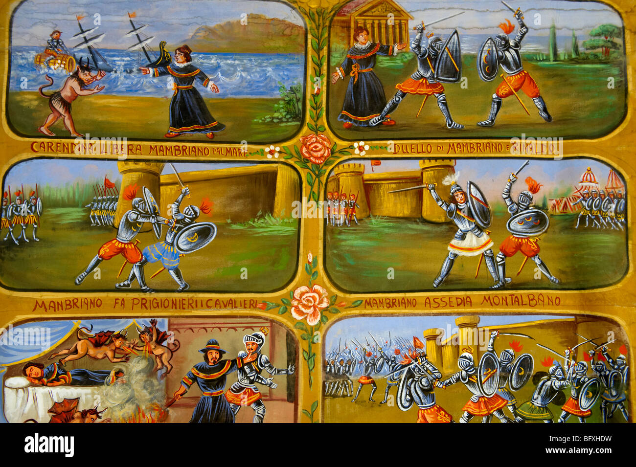 Folk art paintings depicting Sicilian historical stories, Palermo Pupet museum, Sicily - Stock Image