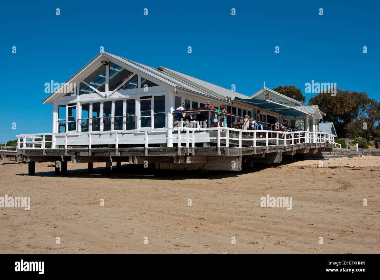 Cafe on beach at Barwon Heads Victoria Australia - Stock Image