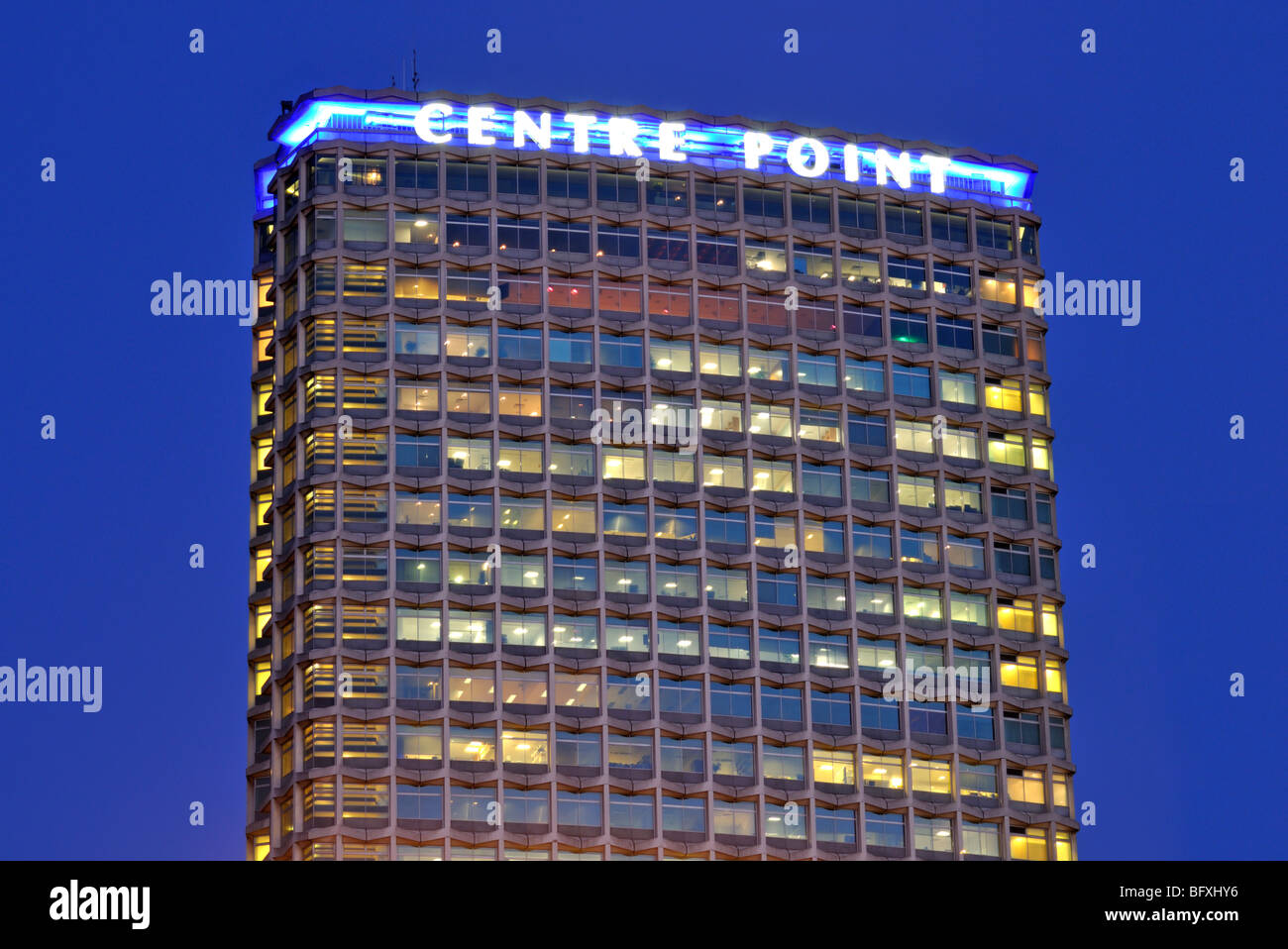 Night view Centre Point building, interchange of New Oxford Street and Tottenham Court Road, London, United Kingdom - Stock Image