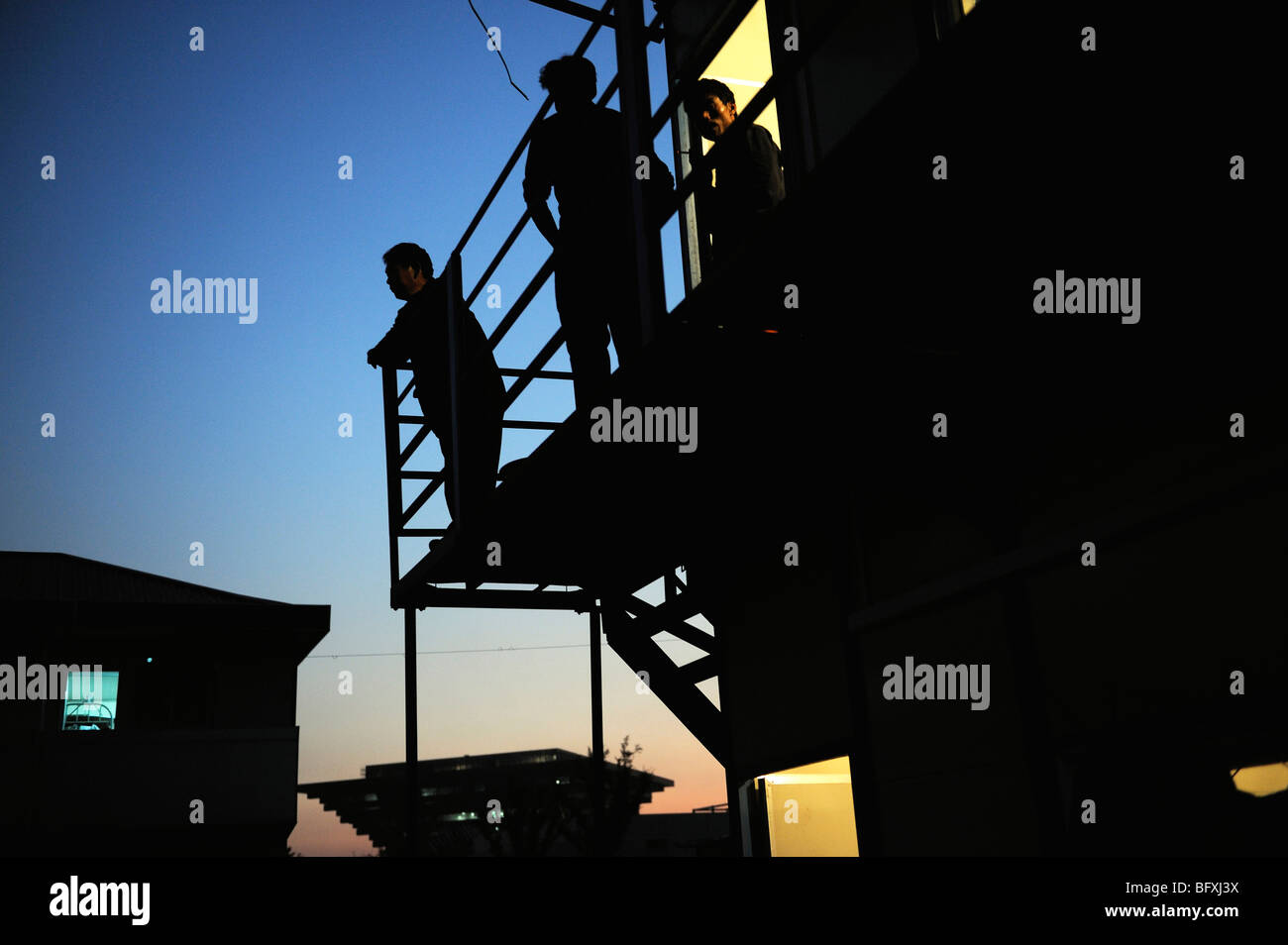 Chinese workers at dormitories in construction site of the World Expo 2010 in Shanghai, China.15-Oct-2009 - Stock Image