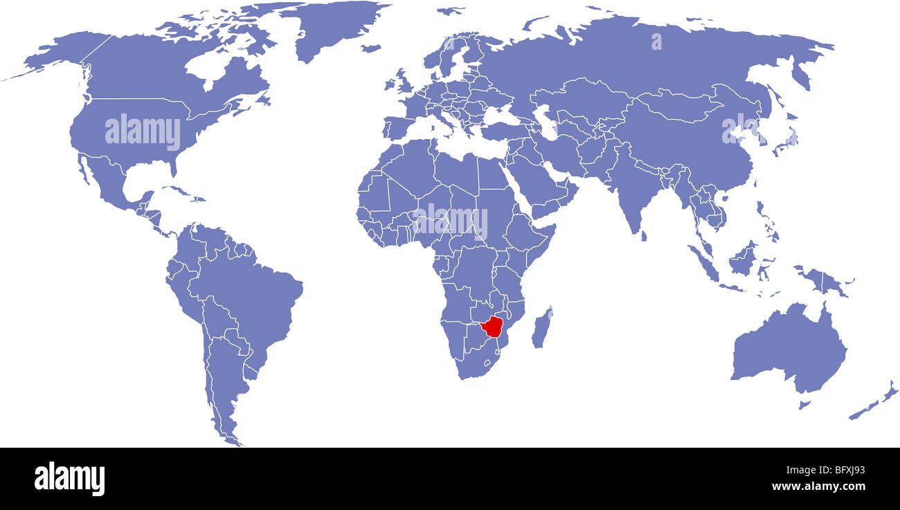 There is a global map of world, Zimbabwe Stock Photo ...