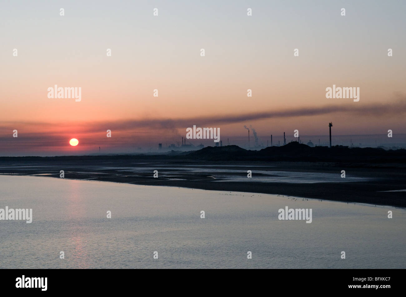A dawn arrival by ferry at Dunkirk, France. - Stock Image