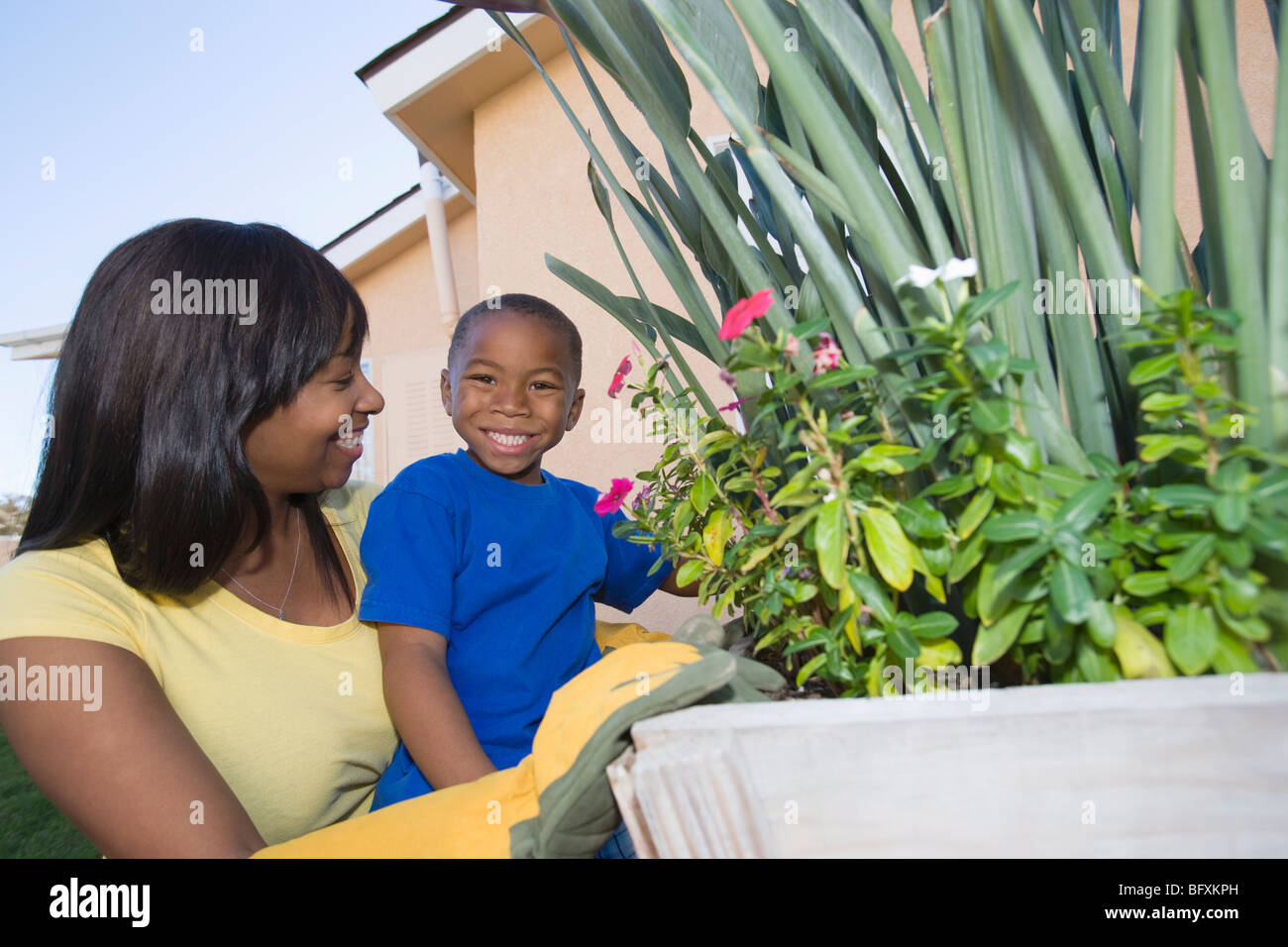 Woman and son tending plants - Stock Image
