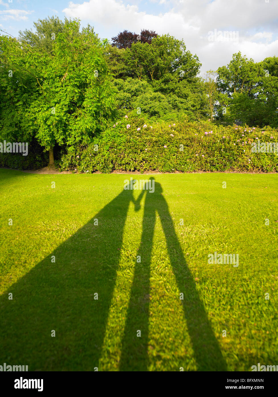 Shadow of couple holding hands - Stock Image