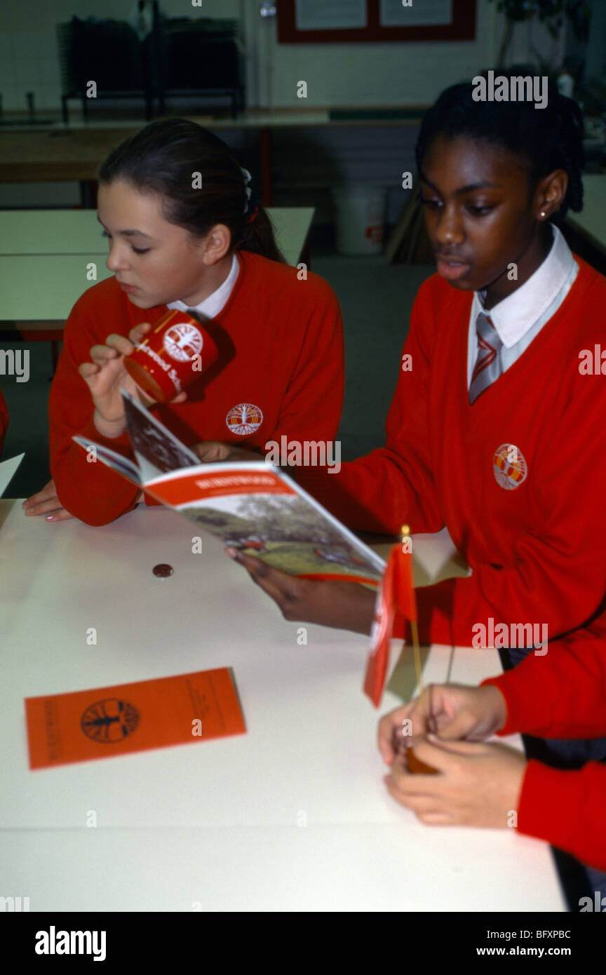 Burntwood School Tooting Grant Maintained - Students With Promotional Products - Stock Image