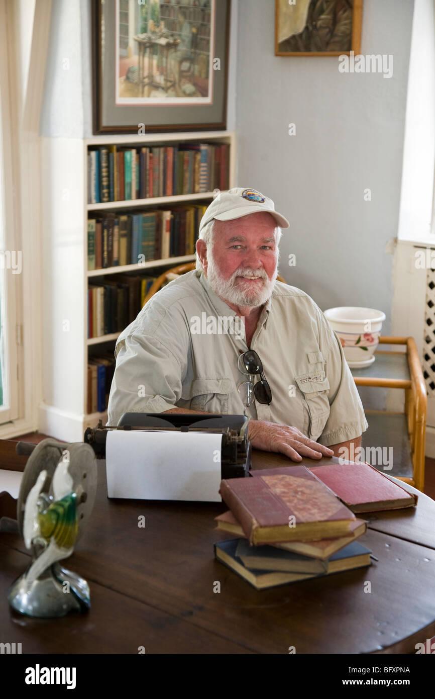 Winner of the 1999 'Hemingway Look-Alike Contest,' Rick Kirvan Ernest Hemingway Home and Museum Key West - Stock Image