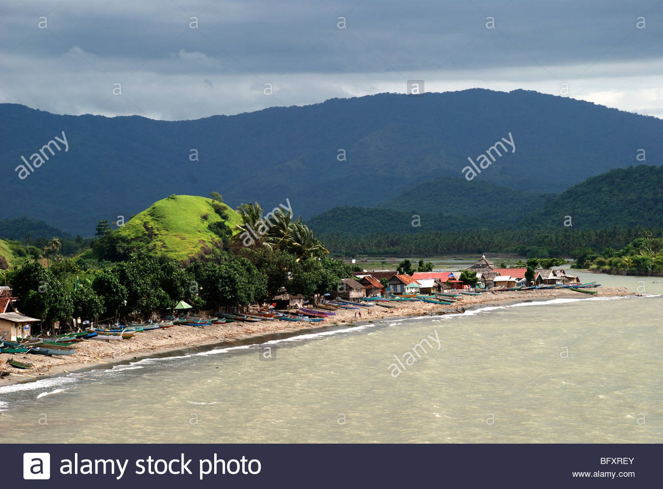 Fishing village of Labuan Lalang near Taliwang Sumbawa Barat NTB Indonesia - Stock Image