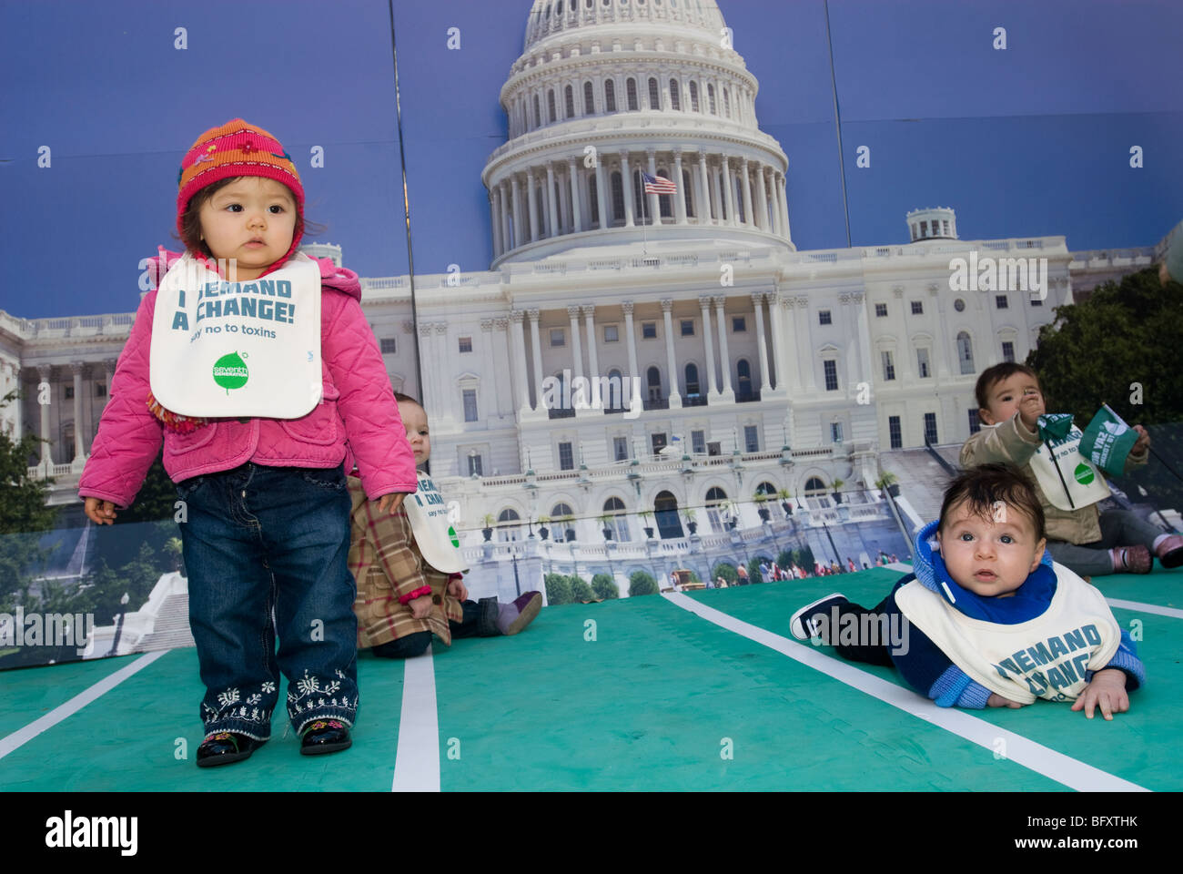 Toddlers promote the Million Baby Crawl in Madison Square Park  in New York - Stock Image