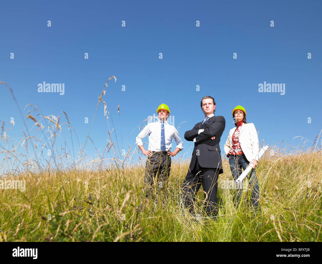 contractors with blueprints in field - Stock Image