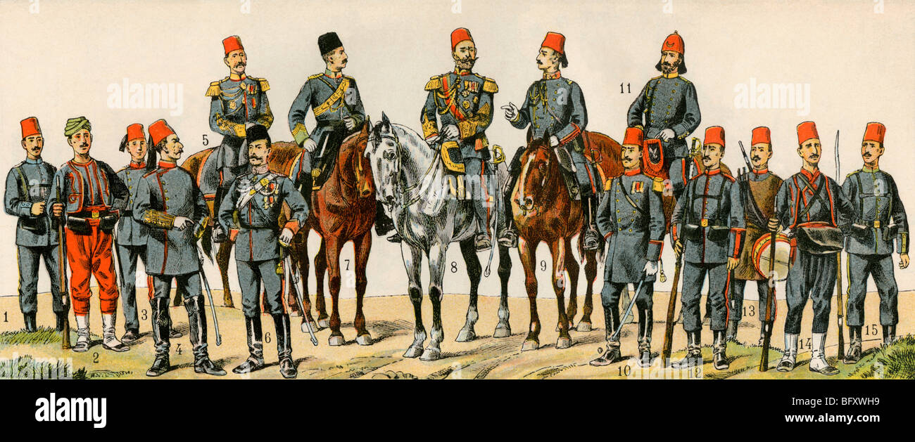Military Officers Of The Ottoman Empire Circa 1900 Color