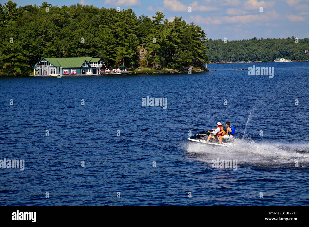 Cottage Country in the Summer on Lake Muskoka in Gravenhurst,Ontario;Canada - Stock Image