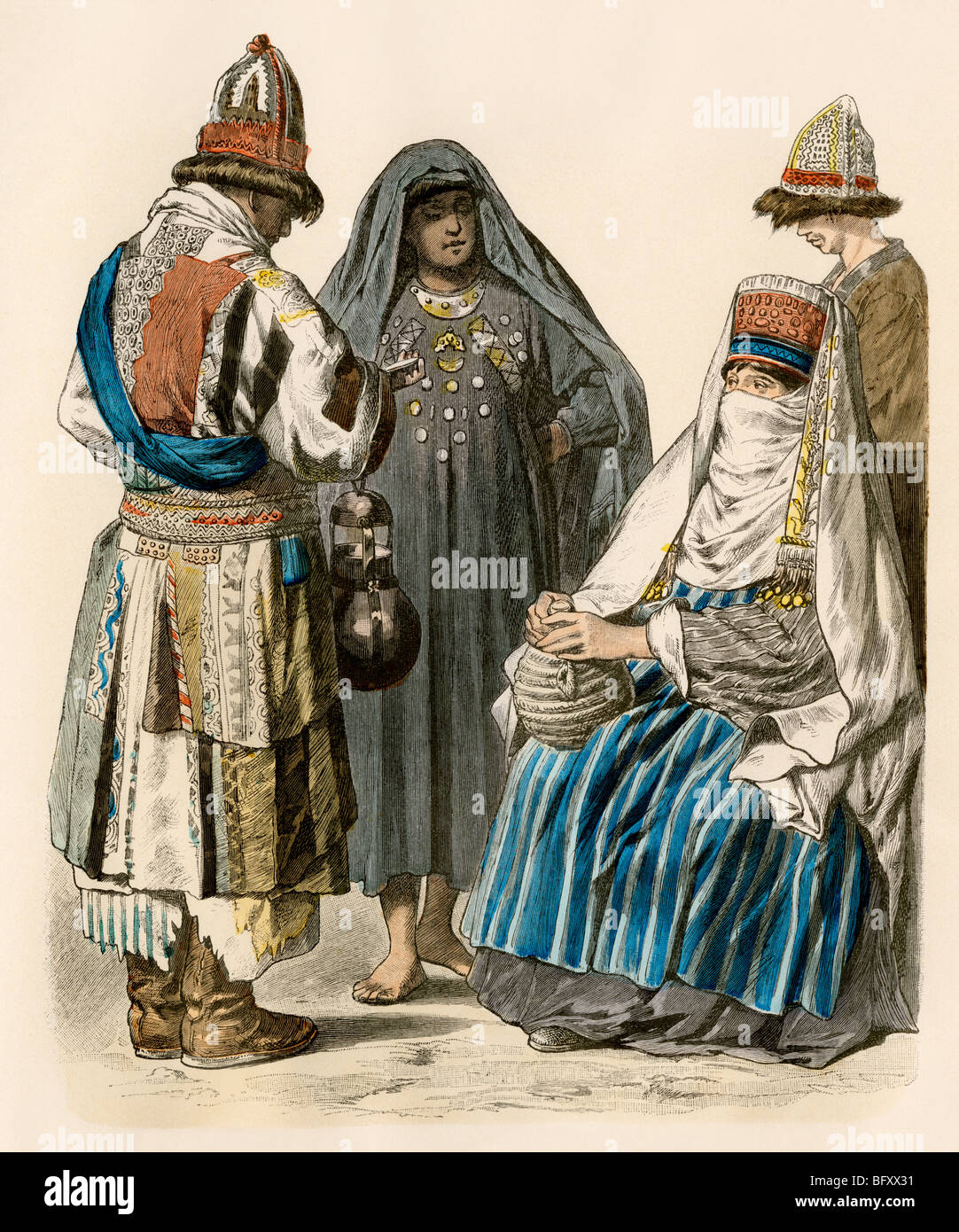 Muslim dervish and Turkish women in their native attire. Hand-colored print - Stock Image