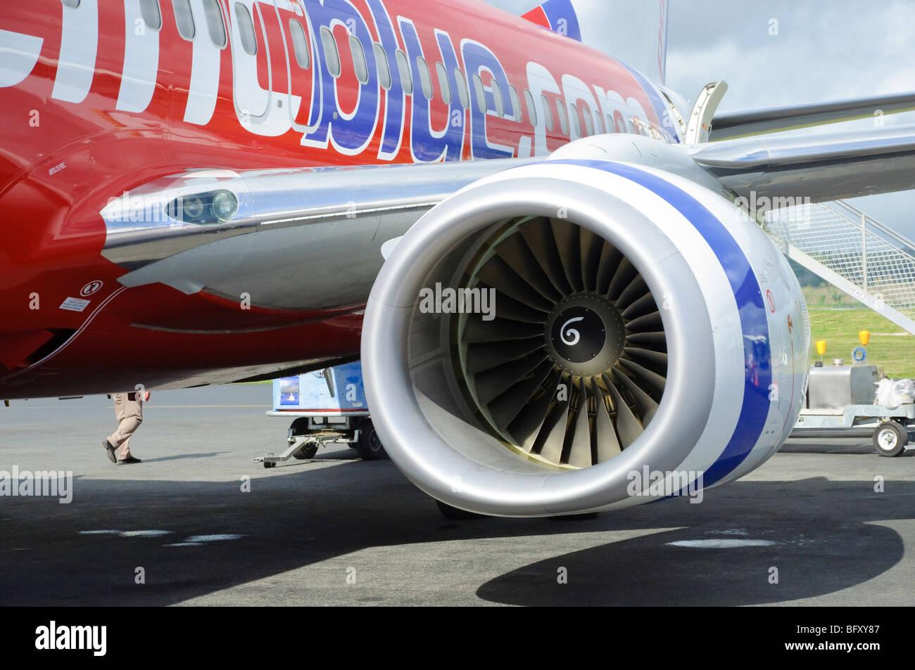 Engine of a modern Pacific Blue/Virgin Australia Boeing 737-800 plane; jet engine; aircraft; turbojet; turbofan; - Stock Image