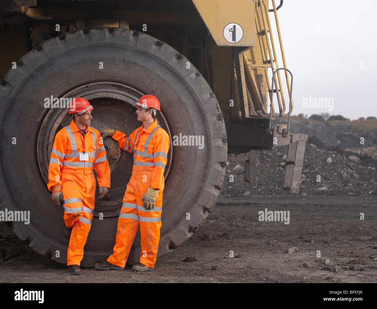 Coal Miners With Digger Stock Photo
