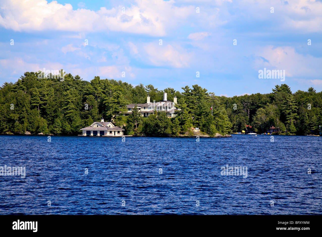 Cottage Country in the Summer on Lake Muskoka in Gravenhurst,Ontario;Canada Stock Photo