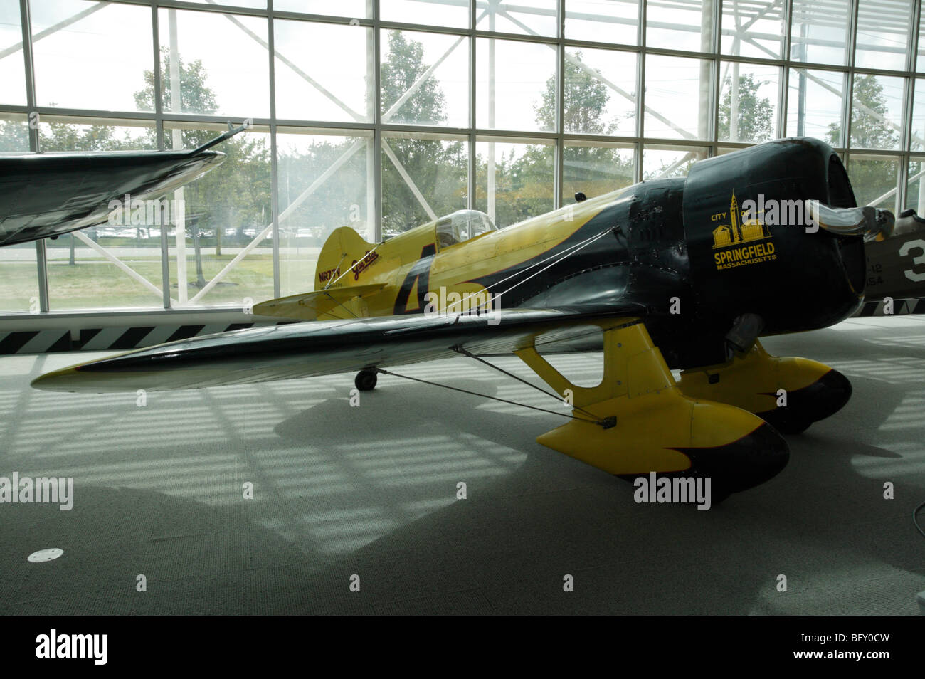 Granville Brothers Gee Bee Z 'City of Springfield' on display in the Great gallery of the Museum of Flight, - Stock Image